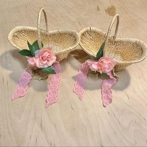 Hand Crafted FlowerGirl Baskets Pink Roses